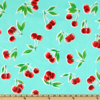 Oil Cloth Stella Cherries Aqua