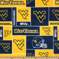 NCAA West Virginia Mountaineers Fleece Blocks Blue/Yellow