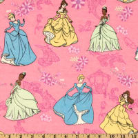 Disney Flannel Princess Trio Allover Pink