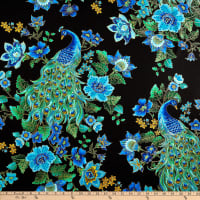 Timeless Treasures Plume Peacocks Multi/Black