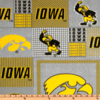 NCAA Iowa Hawkeyes Fleece Plaid Blocks Grey