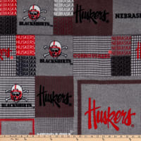 Collegiate Fleece University of Nebraska Plaid Blocks Red/Gray