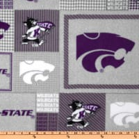 Collegiate Fleece Kansas State Plaid Blocks Purple/Gray