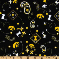 Collegiate Cotton Broadcloth University of Iowa Bandana Black