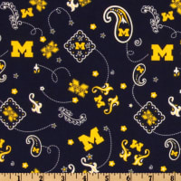 Collegiate Cotton Broadcloth University of Michigan Bandana Blue