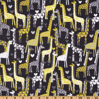 Michael Miller Giraffe Love Gray