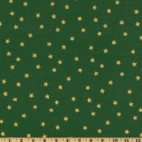 Merry Christmas Stars Metallic Gold/Green