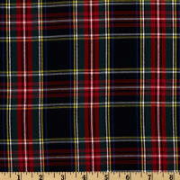 Kaufman House of Wales  Lawn Plaid Shirting Black