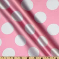 Charmeuse Satin Large Polka Dots Pink/White