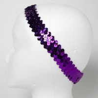 "1 1/4"" Metallic Sequin Stretch Headband Purple"