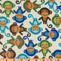 Urban Zoologie Slicker Laminated Cotton Monkies Natural