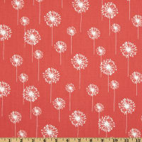 Premier Prints Small Dandelion Cotton Duck Coral/White