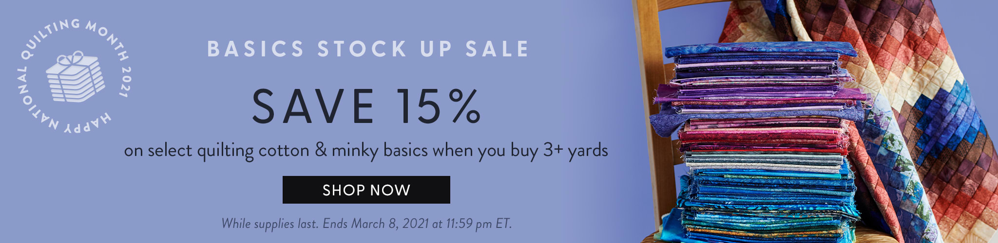 Basics Stock up Sale - Save 15% when you buy 3 or more yards of selects quilting solids and blenders