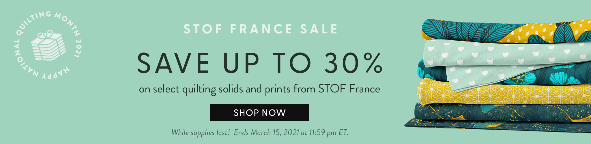 Stof France Sale - save up to 30% on select quilting fabrics from STOF france