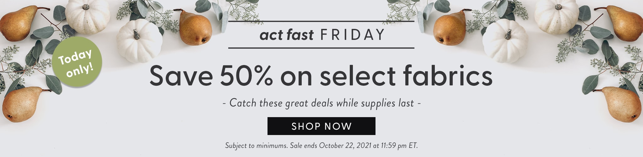 Today Only. Act fast friday. Save fifty percent on select fabrics. Catch these great deals while supplies last. Shop Now. Sub