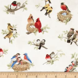 Beautiful Birds Birds All Over Cream Fabric