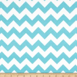 Riley Blake Medium Chevron Flannel Aqua Fabric