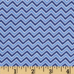Alpine Flannel Chevron Medium Blue Fabric