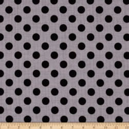 Small Dot Tone Black on Gray Fabric