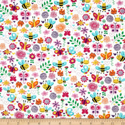Michael Miller Happy Tones Busy Bee Pink Fabric
