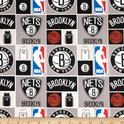 NBA Cotton Broadcloth Brooklyn Nets Multi Fabric