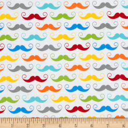 Riley Blake Geekly Chic Mustache White Fabric
