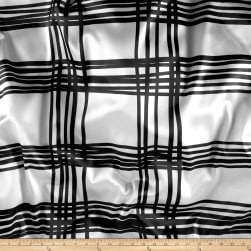 Stretch Satin Charmeuse Grid Black/Ivory