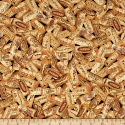 Timeless Treasures Wine Corks Brown Fabric