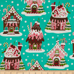 Michael Miller Holiday Gingerbread Houses Aqua Fabric