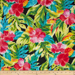 Splash of Color Tropical Leaves Black Fabric