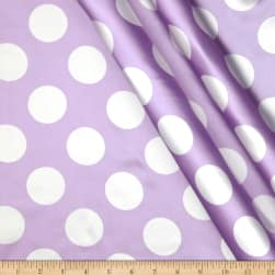 Charmeuse Satin Large Polka Dots Lavender/White