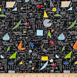 Timeless Treasures Back To School Algebra Black Fabric