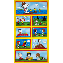 Camp Peanuts Allover Patches Yellow Fabric