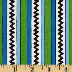 Camp Peanuts Stripe Green/Royal Blue Fabric