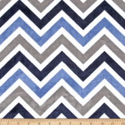 Shannon Minky Cuddle Zig Zag Navy/Denim/Ivory Fabric