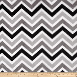 Shannon Minky Cuddle Zig Zag Black/Silver/Snow Fabric