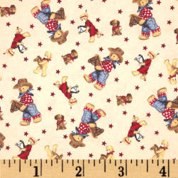 Flannel Tossed Cowboy Bears Ivory/Multi Fabric