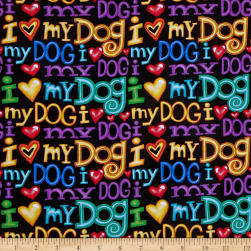 Timeless Treasures Bart Dog Words Black Fabric