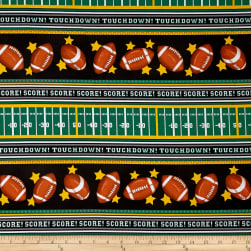 Timeless Treasures Gail Football Stripes Black Fabric