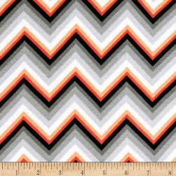 Kaufman Laguna Stretch Jersey Knit Chevron Tangerine Fabric