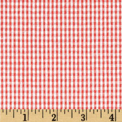 Classic Seersucker Check Coral Fabric