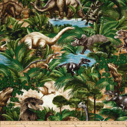 Timeless Treasures Dinosaurs Bones Green Fabric