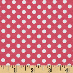 Riley Blake Knit Small Dots Hot Pink