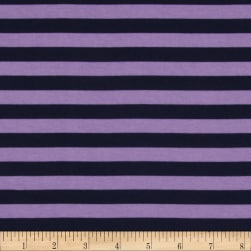 "Riley Blake Cotton Jersey Knit 1/2"" Stripes Navy/Purple"