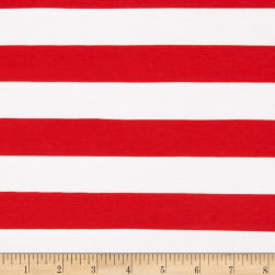 "Riley Blake Cotton Jersey Knit 1"" Stripes Red"