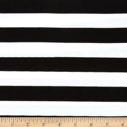 Stretch Knit 1 Inch Stripe Black Fabric