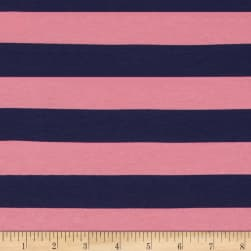 "Riley Blake Cotton Jersey Knit 1"" Stripes Navy/Hot Pink"