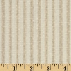 Vertical Ticking Stripe Ivory/Tan Fabric