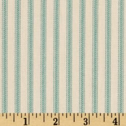 Vertical Ticking Stripe Ivory Cerulean Aqua Fabric