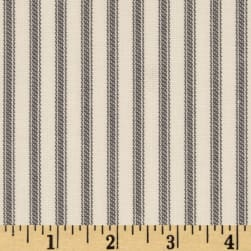 Vertical Ticking Stripe Ivory Charcoal Fabric